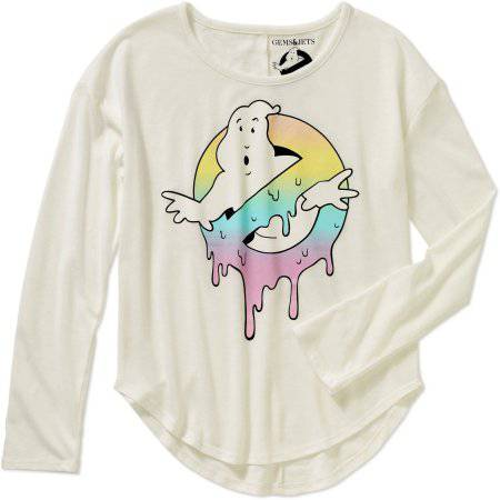 Gems And Jets Girls' Long Sleeve Crew Neck Ghostbusters Graphic Tee