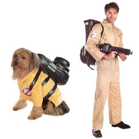 Ghostbusters Adult Standard and Medium Dog Costume Bundle Set