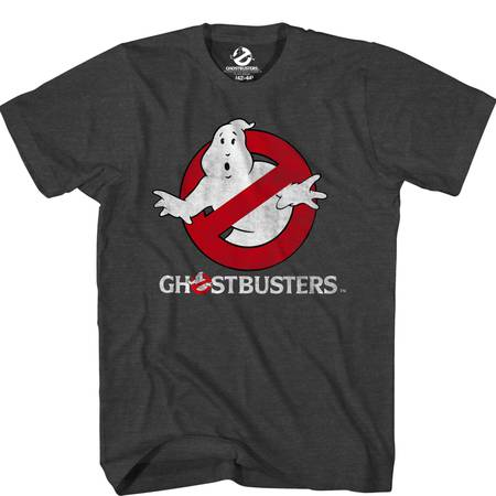 Ghostbusters Logo Glow in the Dark Mens Charcoal Heather T-shirt