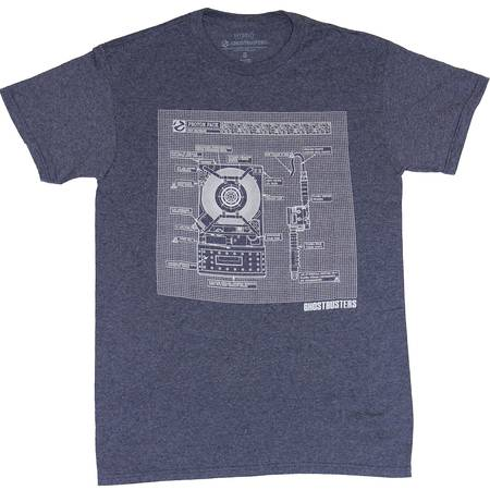Ghostbusters Proton Pack Schematic Navy Heather Adult T-Shirt