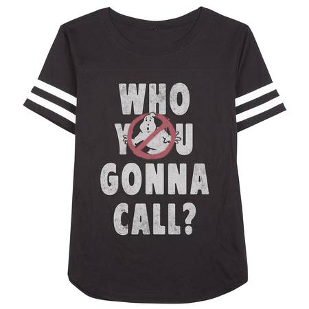 Ghostbusters Who You Gonna Call Juniors Black Varsity Football T-shirt