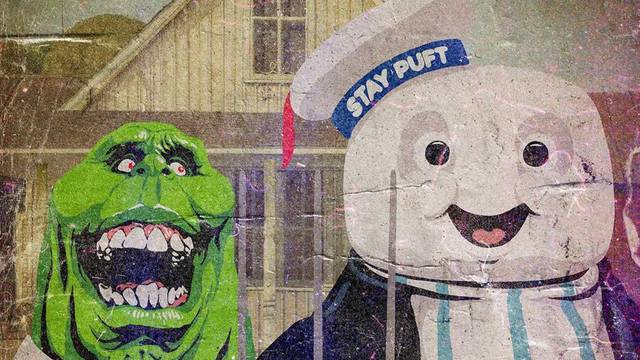 American Gothic gets Ghostbusters makeover with Slimer & Stay Puft Marshmallow Man