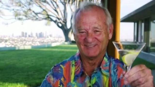 Bill Murray trends after wearing a Hawaiian shirt and drinking a martini during Golden Globes