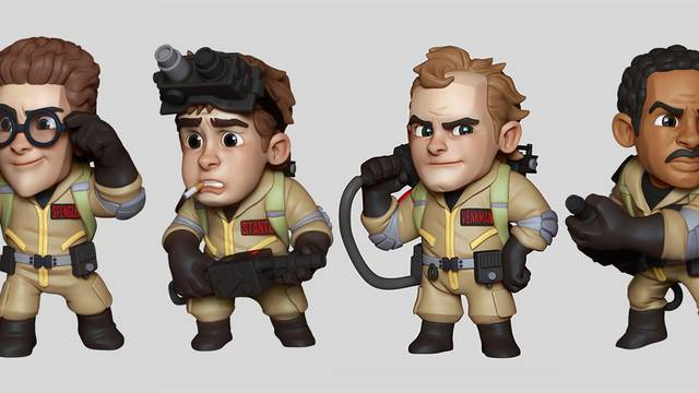 Character artist for upcoming Ghostbusters/Men in Black board game shows off player pieces