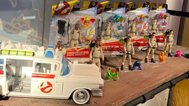 In-package shots of Hasbro's Fright Feature Ghostbusters toys + scaled Ecto-1