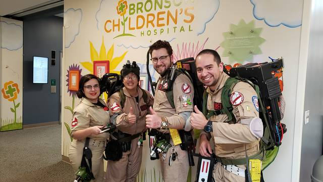 Kalamazoo Ghostbusters make fifth visit to Bronson Children's Hospital - WWMT-TV