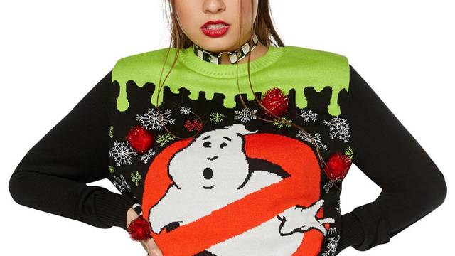 Light-up Ghostbusters ugly Christmas sweater now available from Spirit Halloween