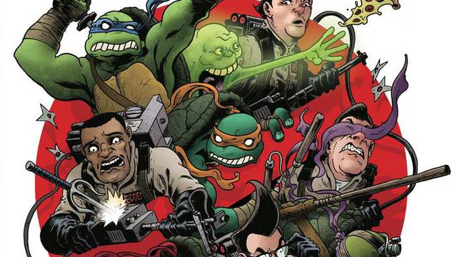 Sneak peek at upcoming TMNT/Ghostbusters crossover comic covers