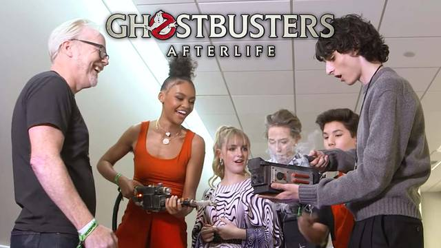 Watch the cast of Ghostbusters: Afterlife geek out over Adam Savage's Ghostbusters cosplay