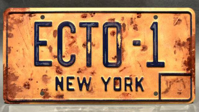 You can now buy a replica Ecto-1 license plate from the upcoming Ghostbusters film